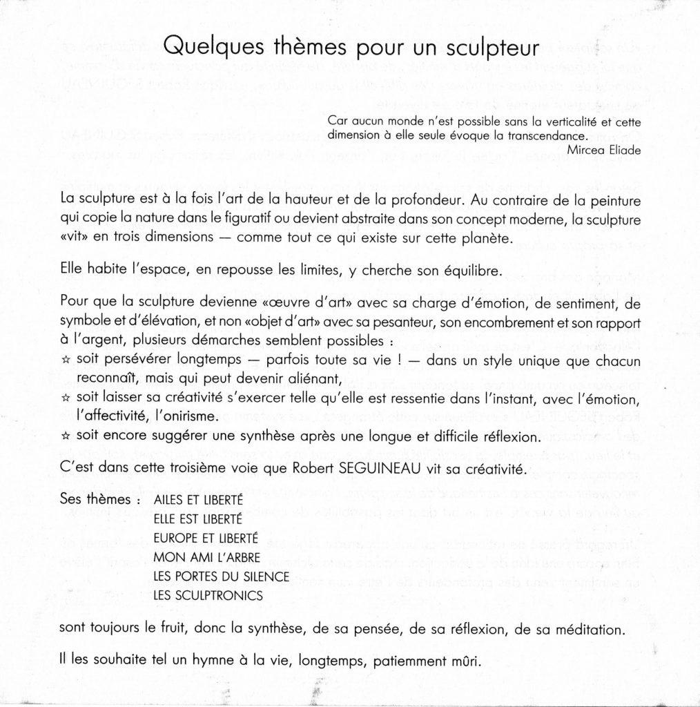 Thèmes, plaquette de Robert Séguineau